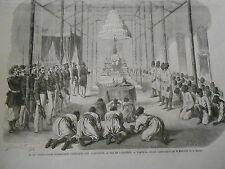 Gravure 1864 - Desmoulins adressant son allocution au Roi de Cambode