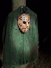Jason Voorhees Custom Made cracked mask and shirt costume- high quality 2pc set