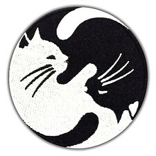Yin Yang CAT Symbol Embroidered Patch Black & White Iron On Applique Peace Arts