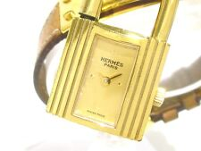 Auth HERMES Brown Gold Women's Kelly Watch 306589