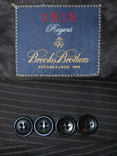 Mens 41 R Brooks Brothers 1818 Regent Fit Black Mini Stripe Wool Suit Made Italy
