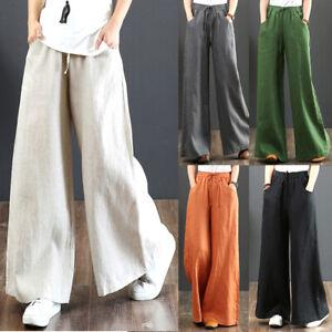 Womens Cotton Linen Casual Baggy Long Trousers Elastic High Waist Wide Leg Pants