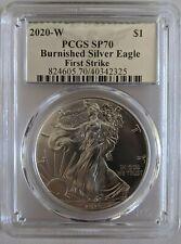 2020 W Burnished 1 oz Silver Eagle PCGS SP 70 First Strike UV Ultraviolet Label