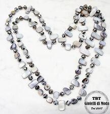 Argento Collana Lunga Madreperla,perle,pietre Dure,cristalli da donna