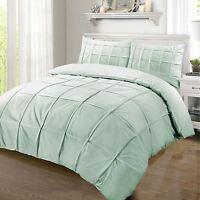 Luxury 100%Egyptian Cotton 200 Thread Pintuck Pleat Duvet Cover Bed Set Duck Egg