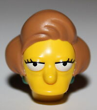 Lego Yellow Head Modified Simpsons Edna Krabappel with Dark Turquoise Earrings