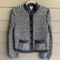 Armani Collezioni Boucle Knit Structured Gray Blazer Jacket Women's Size 8
