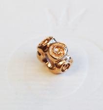 "Genuine Pandora 14ct. Gold ""Big Roses"" Spacer - 750120 - retired"