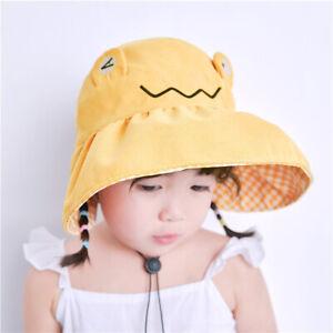 Cartoon Outdoor Children Girl Empty Sun Hat Baby Cap Frog Visor Hat Solid Color