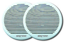 Majestic SPK240 6 Inch Dual Cone Marine RV Outdoor Waterproof White Speaker Pair