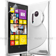 CLEAR S CURVE GEL TPU CASE COVER FOR NOKIA Lumia EOS 1020 + Screen Film + Stylus