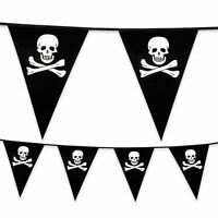 6m Plastic Bunting Pirate Skull and Crossbones Pennant Flag Teens Kids Party