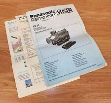 Panasonic VHS C (PV-22D / PVA16) Palmcorder Camcorder Operating Instructions
