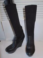 WOMENS MESSECA BLACK LEATHER & KNIT SHAFT WEDGE BOOTS SIZE 8