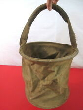 WWII US Army Cavalry Collapsable Folding Khaki Canvas Jeep Water Bucket - Nice 2