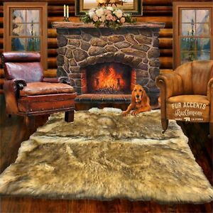 Coyote, Tan Wolf Shag, Seamed Faux Fur Area Rug, Rectangle, Carpet, Bonded Suede