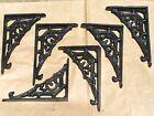 SIX Tiny Small Cast Iron Wall shelf Brackets, Black