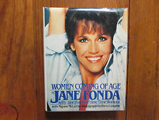JANE FONDA Signed 3 x 4 Card with Book(WOMEN COMING OF AGE-1985 Edition Hardback