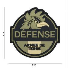 Patch 3D PVC Défense Armée de Terre insigne militaire coq airsoft écusson France