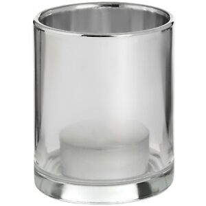 Smoked Silver Glass Tealight Holder - Style My Pad