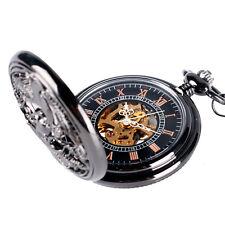 Steampunk Black Skeleton Mechanical Craved Cranes Pendant Pocket Watch Xmas Gift