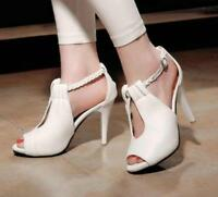Hot Womens High Heels Peep-toe Sandals Pumps Ankle Strap Stiletto Shoes Summer