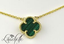 "Natural Green Malachite Four Leaf Clover 14K Yellow Gold Necklace +16"" Chain"