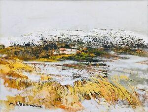 """Michel JOUENNE - """"Le hameau sous la neige"""", 1990 - Huile sur toile signée"""