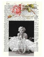 QUILT*ART*FABRIC BLOCK*MARILYN MONROE BEAUTIFUL DICTIONARY PAGE COLLAGE 8X10 IN.
