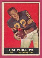 1961 Topps Football # 51 Jim Phillips - Los Angeles Rams -- Box 708-172