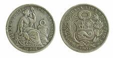 s390_3) PERU 1/2 Sol 1907 LIMA FG JR - Silver