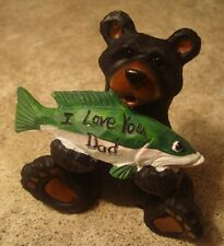 Black Bear Figurine I Love You Dad Fisherman Fish Fishing Lodge Home Decor New
