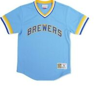 Mitchell & Ness Milwaukee Brewers Baseball Jersey New Mens Sizes MSRP $90