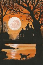 4X6 HALLOWEEN POSTCARD PRINT LE 13/27 RYTA BLACK CAT HAUNTED HOUSE LANDSCAPE