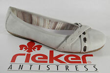 Rieker Ballerina, white/light grey, soft leather insole, Rubber sole NEW