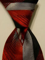 VITALIANO PANCALDI Men's 100% Silk Necktie ITALY Luxury Red/Black/Gray EUC Rare