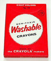 Rare 1950s - 60s Unused Red Box Of 8 Crayola Crayons # 41 Washable New NOS NEW
