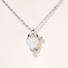 Heart White Fire Opal Heart Devil  Pendant 18mm NEcklace