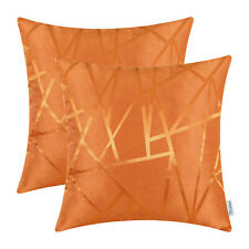 """2Pcs Bright Orange Cushion Covers Pillows Cases Geometric Abstract Lines 16x16"""""""