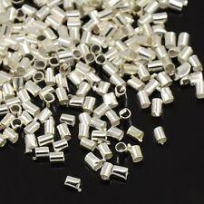 LOT de 600 PERLES TUBES à écraser 1,5mm ARGENTE clair création bijoux