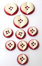 11 Vintage Red & White Celluloid Buttons Shaped Like Cut Apple 2 Sizes
