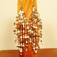 "4"" LONG White Gold Bohemian Style Handmade Chandilier Dangle Seed Bead Earring"
