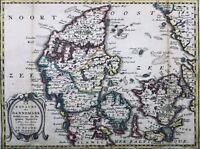 Danemark en 1750 Scandinavie Kolding Fionie Zeland Samso Copenhague Rare Carte