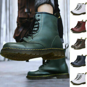 New Unisex Classic Retro Casual Retro Boots Leather High Top Boots Shoes Black