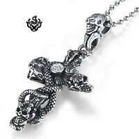 Silver cross skulls snake crystal stainless steel pendant ball chain necklace