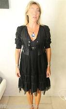 robe luxe pompon + gilet soie coton HIGH USE  taille 38  NEUVE S ÉTIQUETTE