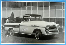 """12 By 18"""" Black & White Picture 1958 Chevrolet Cameo Apache 31 Pickup"""