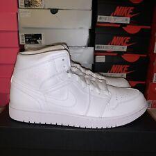 Nike Air Jordan 1 Mid 554724-130 Men Casual Shoes Triple White Size 12