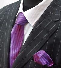 Tie Cravatta Con Fazzoletto Viola