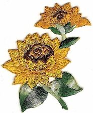 """2 1/2"""" Country Sunflower Flower Embroidery Patch"""